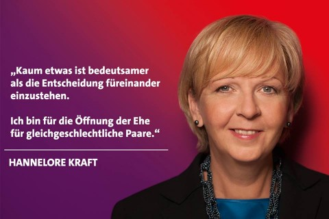 Hannelore Kraft spricht sie für die Eheöffnung aus.